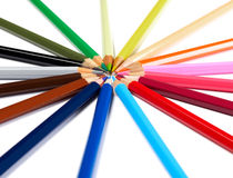 Pencils togheter. Multi-colored pencils on white background Royalty Free Stock Photo