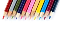 Pencils togheter. Multi-colored pencils on white background Stock Photos