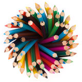 Pencils top view. A lot of pencils top view isolated on a white background Stock Image