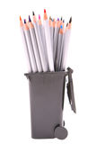 Pencils in trash bin Royalty Free Stock Images