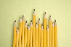 Pencils in uneven row. Royalty Free Stock Image