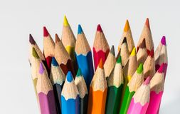 Pencils up close with colour and sharpened points stock image