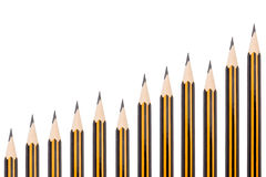 Pencils in a upward graph look Royalty Free Stock Image
