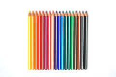 Pencils Variety Pack. Multi-coloured pencils laid on a pure white background. Shot from the top royalty free stock photo