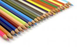 Pencils of various colors in diagonal Stock Images