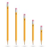 Pencils various length. On white background Royalty Free Stock Photography