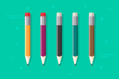 Pencils vector set isolated, flat cartoon color pencil with rubber Royalty Free Stock Image