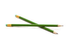 Pencils on a white background. Two graphite pencil with an eraser on a white background Stock Photo