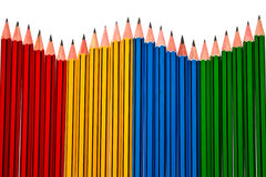 Pencils on White Background. Pencils Red Yellow Blue and Green on White Background Royalty Free Stock Photo