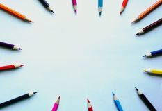 Pencils on white background. Place for text royalty free stock images