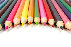 Pencils on a white background placed in a semicircle, front view Royalty Free Stock Photos