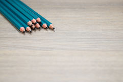 Pencils on wood table Stock Photo