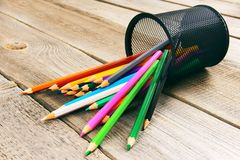 Pencils. On wooden background. royalty free stock photos