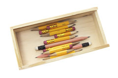 Pencils in Wooden Case Royalty Free Stock Photo