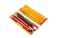Pencils in Wooden Cases Royalty Free Stock Photos