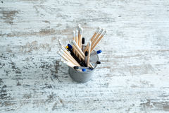 Pencils on a wooden Desktop. Some Pencils on a wooden Desktop Royalty Free Stock Image