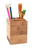 Pencils in wooden holder isolated on white Stock Photography