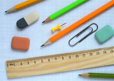 Pencils and wooden ruler Stock Photo