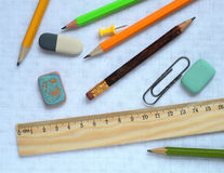 Pencils and wooden ruler Stock Photography