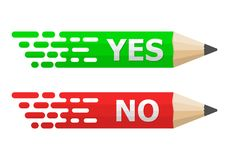 Pencils with Yes and No text. Vector illustration. Colored pencils on white background with shadow Royalty Free Stock Photos