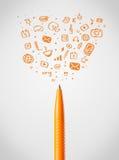 Penclose-up met sociale media pictogrammen Royalty-vrije Stock Afbeeldingen