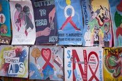 Pendant à la Journée mondiale contre le SIDA sur la place de Durbar à Katmandou Photos libres de droits