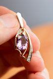 Pendant with amethyst Stock Photo