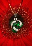 Pendant argenté de bijoux avec des gemmes et émeraude sur le backgro de fleur Image stock