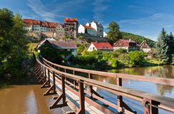 Pendant bridge, Loket, Czech Republic Stock Photography