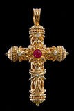 Pendant croisé avec des diamants et des rubis Images libres de droits