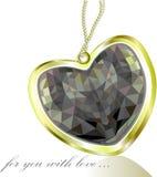 Pendant d'or avec le coeur de diamant noir Image libre de droits