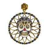 Pendant de crâne de mélange d'Art Vintage de conception de bijoux images libres de droits