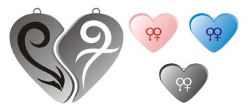 Pendant design for couple. Love pendant design for couple, with abstract men and women symbol vector illustration