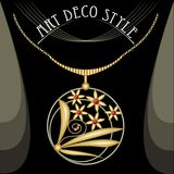 Pendant with gold bouquet. Circle composed golden jewelry in art deco style hanging on a gold chain Stock Photos