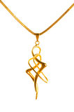 Pendant on golden chain. Isolated on the white Stock Images