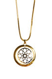 Pendant on golden chain. Isolated on the white Stock Photos