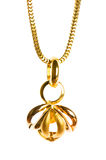 Pendant on golden chain. Isolated on the white Royalty Free Stock Photography