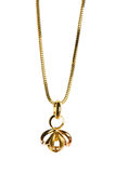 Pendant on golden chain isolated Royalty Free Stock Photography
