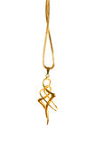 Pendant on golden chain isolated Stock Photo