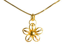 Pendant on golden chain isolated Royalty Free Stock Image