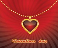 Pendant heart. Red, gold heart hangs on a string of pearls on a striped background with the inscription. Vector illustration Stock Images