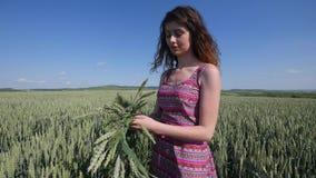 Pendant l'été, parmi le champ de blé, une jeune femme, pleurent une guirlande des oreilles image stock