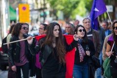 Pendant la célébration du mayday au centre de la ville Confédération générale des travailleurs portugais Images libres de droits
