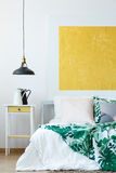 Pendant lamp and wall decor Royalty Free Stock Images