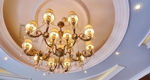 Crystal chandelier room ceiling light lamp home lighting Stock Photography