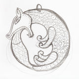 Pendant sketch - fox biting its tail Stock Image