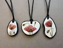 Pendant-stones with pressed flowers Royalty Free Stock Images