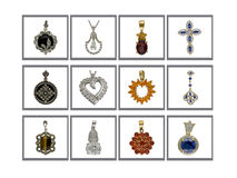 Pendants collection. The collection of silver and gold pendants with diamond and gems stone on the white background and gray frame Stock Photos