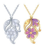 Pendants. Isolated pendants with diamonds in silver and gold Stock Photography