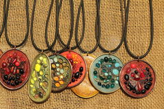 Pendants with semiprecious stones Stock Photos